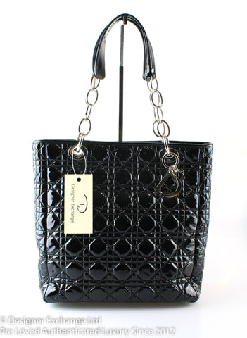 Christian Dior Black Patent Leather Lady Dior Tote 04-MA-1028