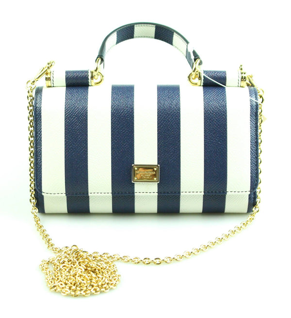 Dolce And Gabbana Miss Sicily Small Striped Wallet On Chain