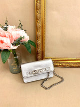 DKNY Silver Leather Convertible Belt Bag