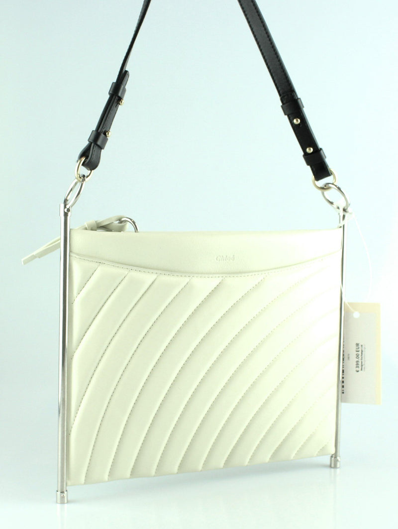 Chloe Medium Roy Clutch Off White Chevron (No Long Shoulder Strap)