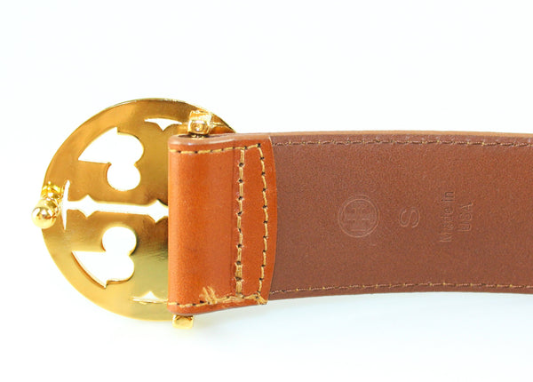 Tory Burch Dark Tan Gold Signature Buckle Belt S
