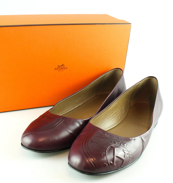 Hermes Embossed Purple Leather Pumps 39.5