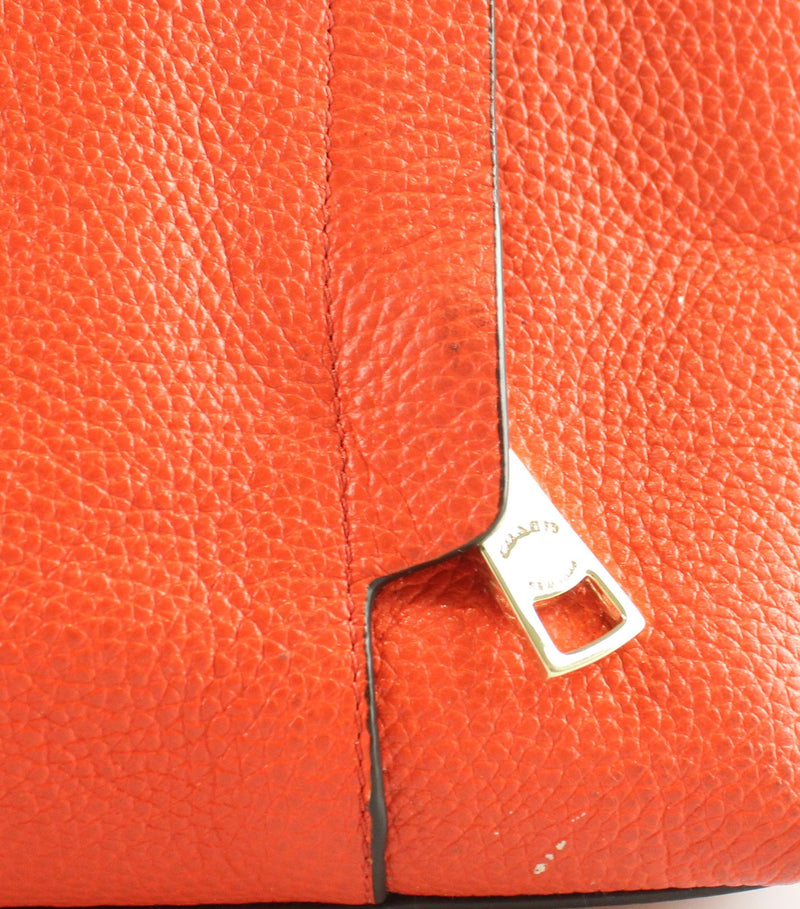 Coach Orange Grained Leather Shoulder Bag With Cross Body