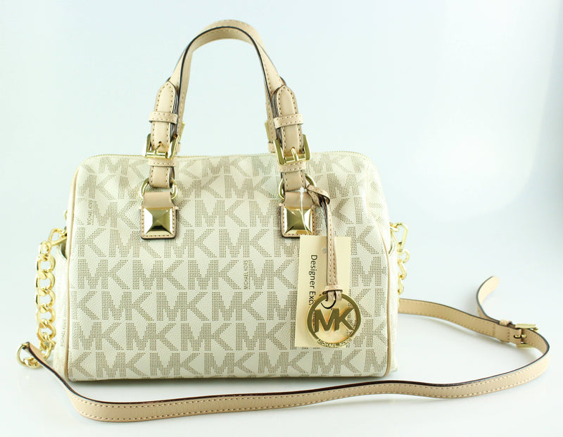 Michael Kors Grayson Vanilla Monogram Boston Bag GH