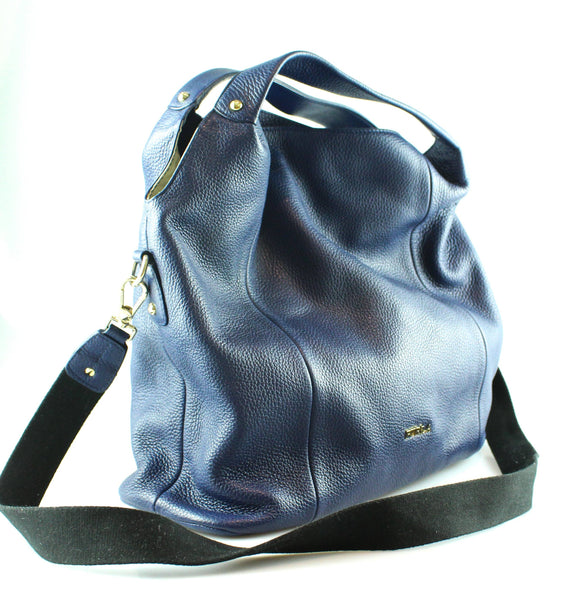 Furla Royal Blue Grained Leather Hobo