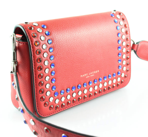 Marc By Marc Jacobs PYT Red Shoulder Bag With Multicolour Diamante