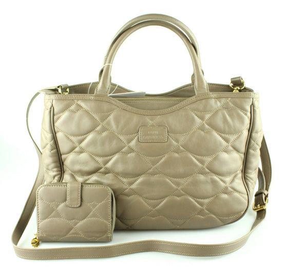 Lulu Guinness Soft Leather Taupe Lips Tote With Matching Purse
