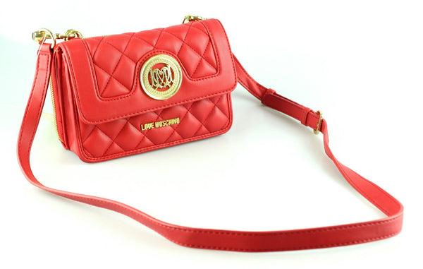 Love Moschino Red Quilted Wallet On Strap GH
