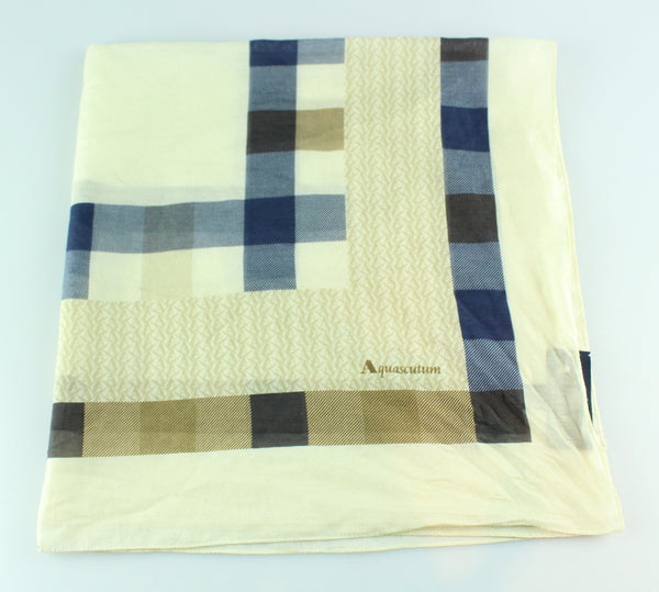 Aquascutum Cotton/Silk Check Scarf