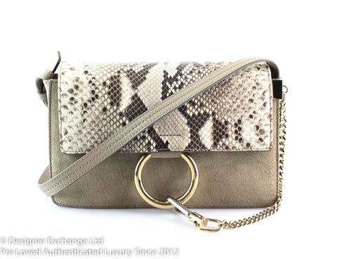 Chloe Faye Small Python And Taupe Suede
