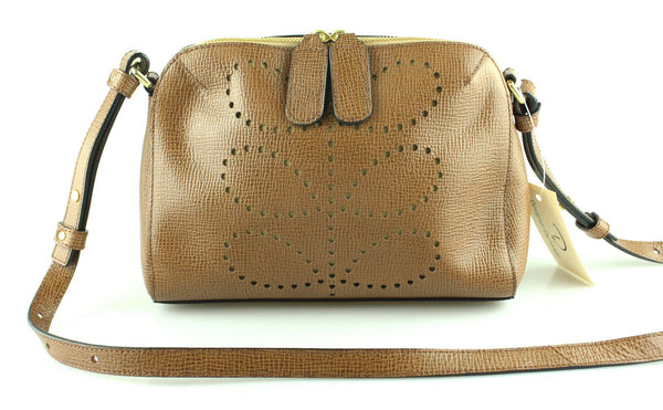 Orla Kiely Punched Stem Print Leather Messenger