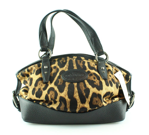 Dolce And Gabbana Leather/Cotton Leopard Dome Tote