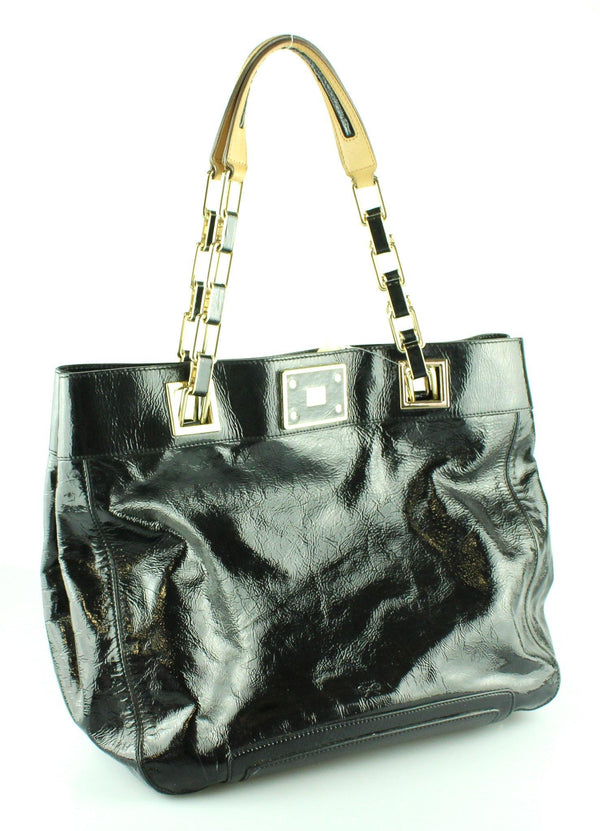 Anya Hindmarch Black Patent Link Chain Shopper GH