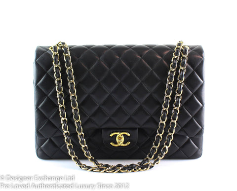 Chanel Black Maxi Lambskin Double Flap Gold Hardware 2014