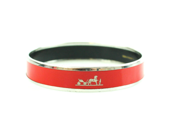 Hermes Enamel Silver And Red Logo Bangle 62 (Small)