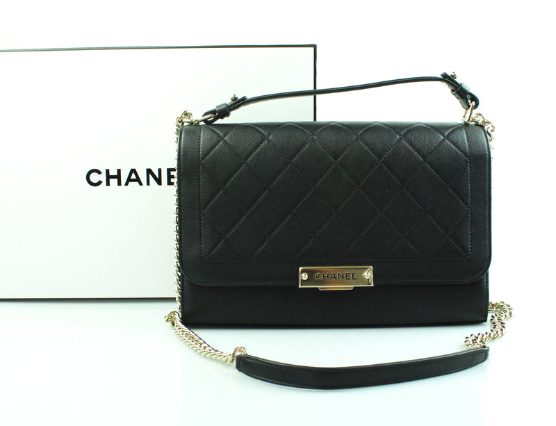 Chanel Large Label Click Flap Bag Black Cruise 2017