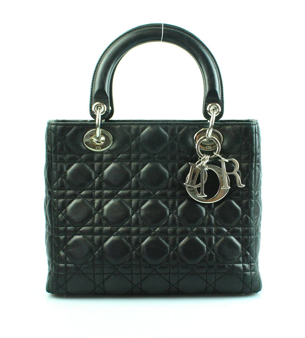 Christian Dior Lambskin Medium Black Lady Dior With Strap 2007