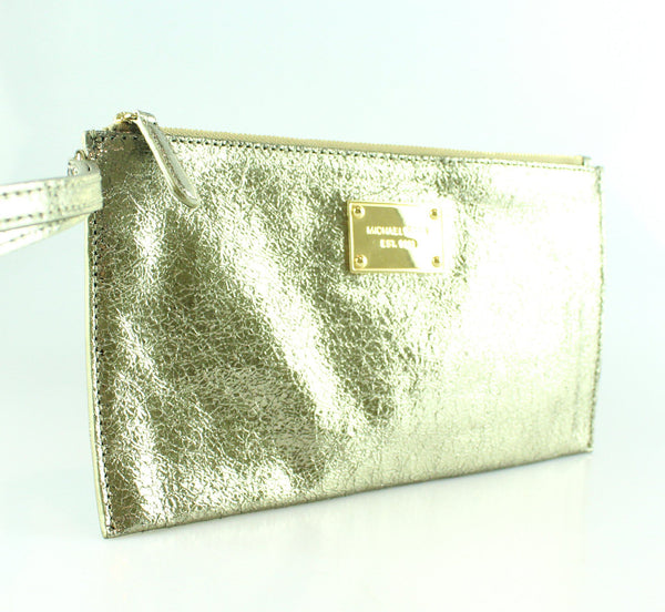 Michael Kors Metallic Crackled Gold Wristlet