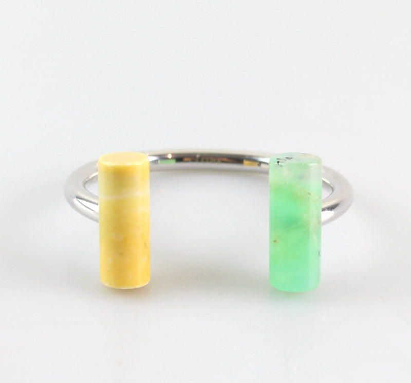 Celine Saffron & Fluro Green Geometric Bangle
