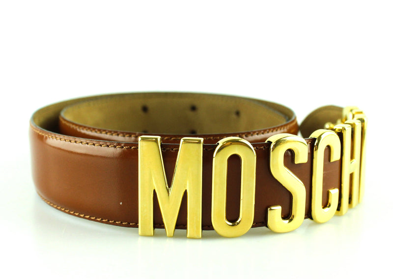 Moschino Vintage Brown Leather Monogram Gold Belt Extra Small