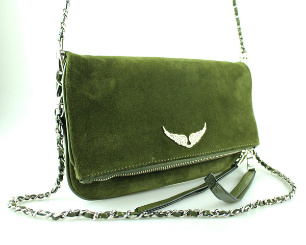 Zadig and Voltaire Green Rock Suede Clutch Bag (RRP €285)