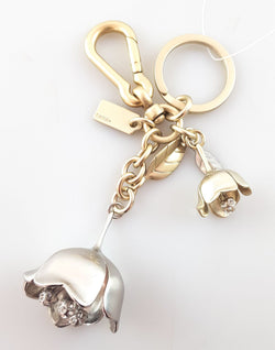 Coach Twin Floral Metal Bag Charm