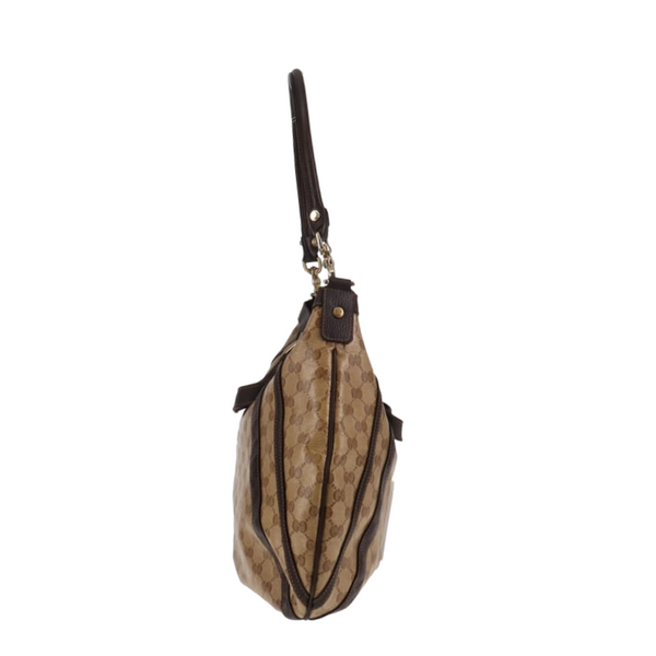 Gucci White Leather GG Stripe Messenger