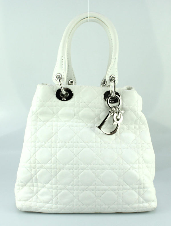 Christian Dior White Cannage Soft Lady Dior Tote SH
