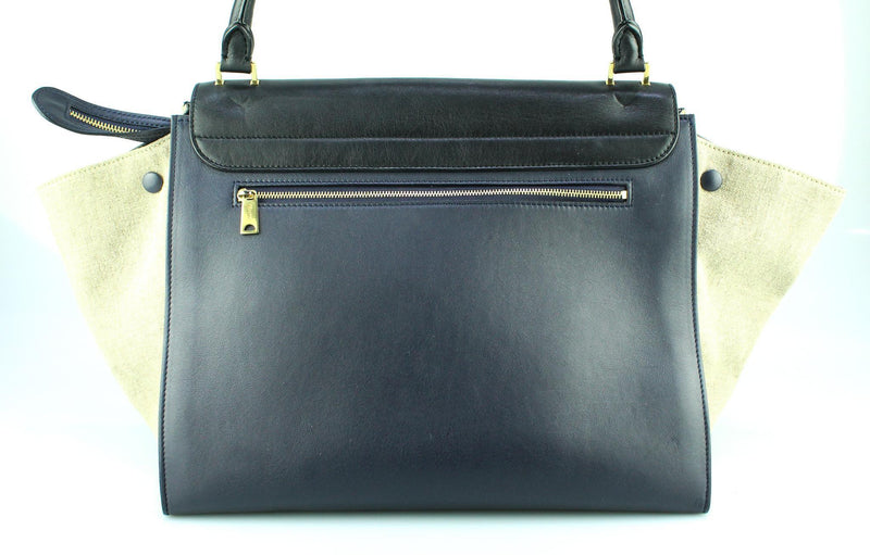 Celine Trapeze Large Smooth Calf Navy/Black And Canvas