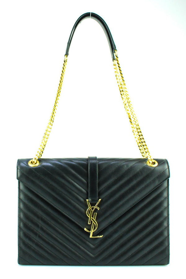 Saint Laurent Chevron Calf Black Envelope Satchel