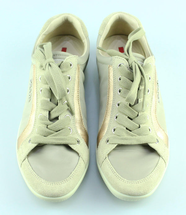 Prada Sport Line Sneakers Beige/Gold Leather/Nylon EUR 38.5