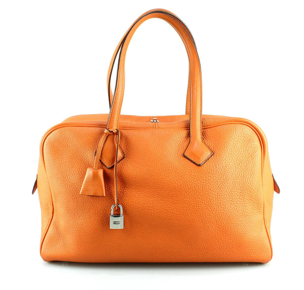 Hermes Orange Victoria II 35 Shoulder Bag Clemence Leather 2007