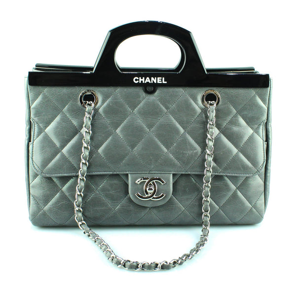 Chanel Delivery Tote Grey Quilted Calfskin Small 2014