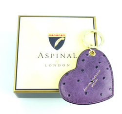 Aspinal Of London Purple Ostrich Print Heart Keyring