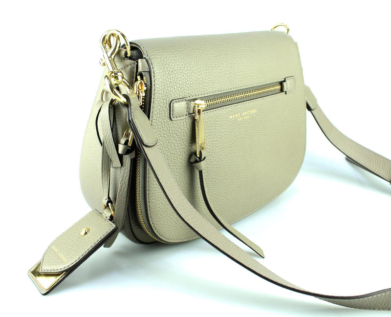 Marc Jacobs Taupe Leather Large Recruit Saddle Bag GH