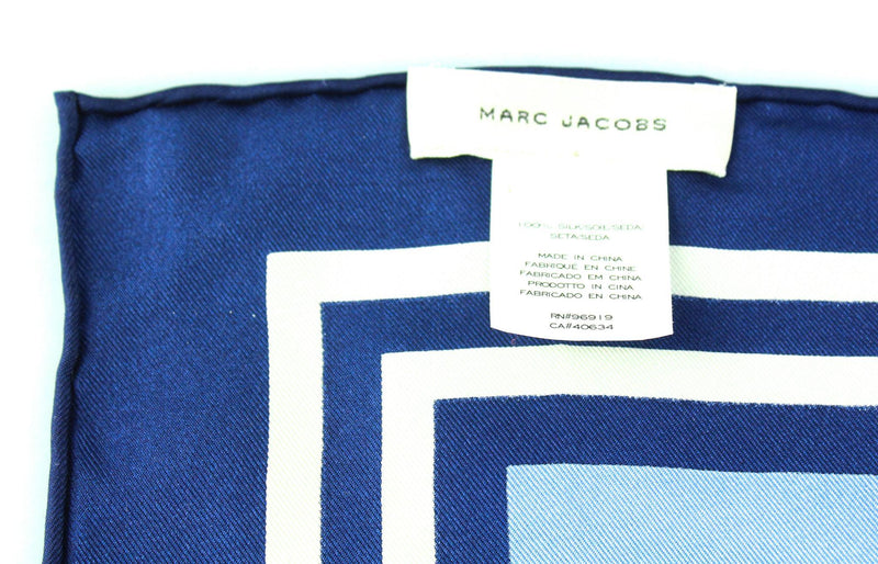 Marc Jacobs Navy/Blue Silk Scarf 70cm