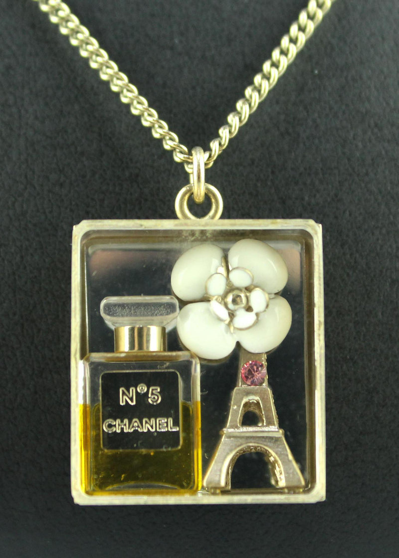 Chanel No5 Perfume Bottle With Eiffel Tower and Camelia Pendant On Chain Goldtone