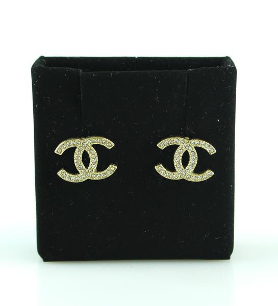 Chanel Goldtone Diamante CC A11 Stud Earrings