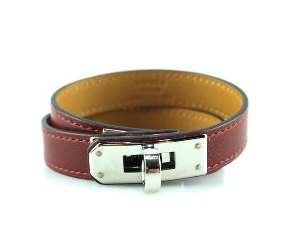 Hermes Double Tour Kelly Bracelet Swift/Calf Leather Burgundy