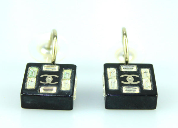 Chanel Resin CC Black Block With Glass Dangle Earrings