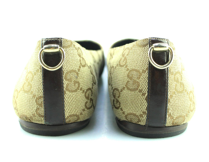 Gucci GG Beige Canvas Flat Shoes EUR 38 UK 5