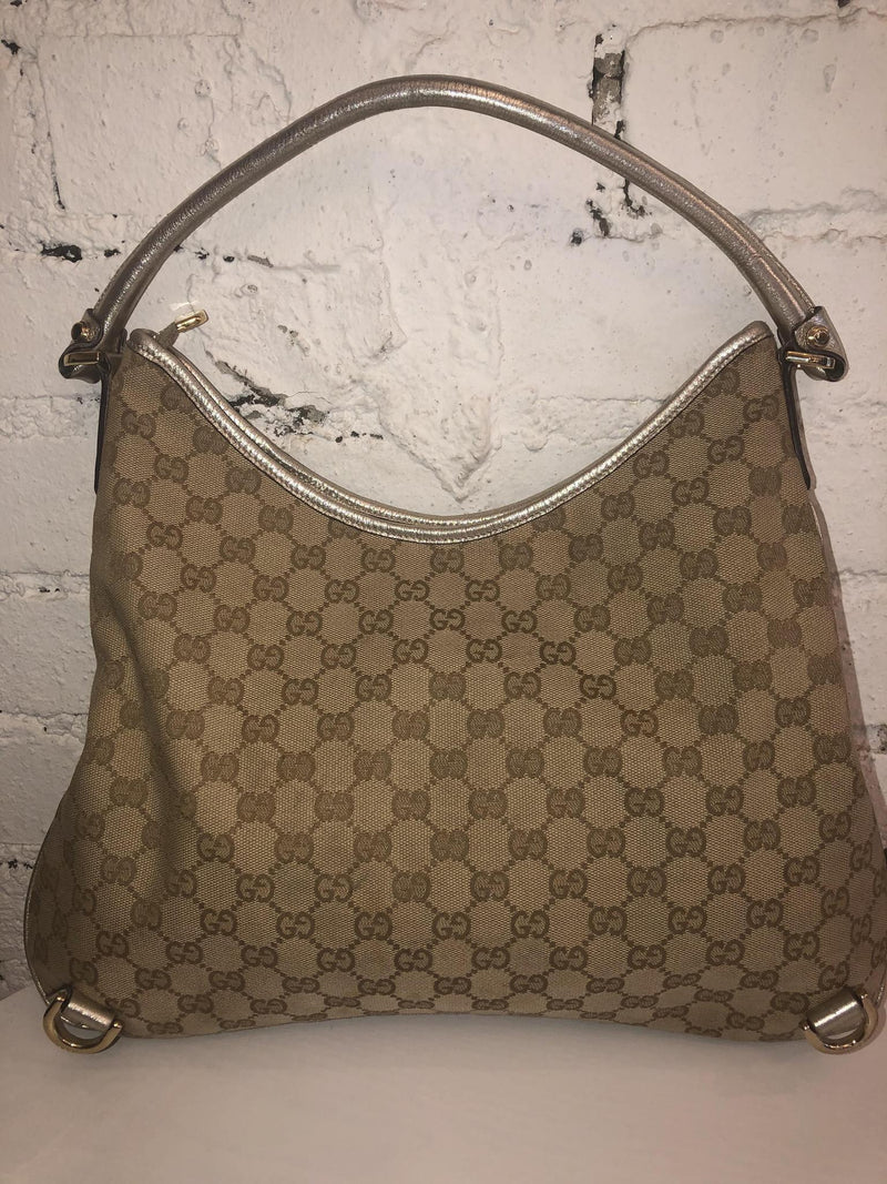 Gucci D Ring Gold Trim Shoulder Bag