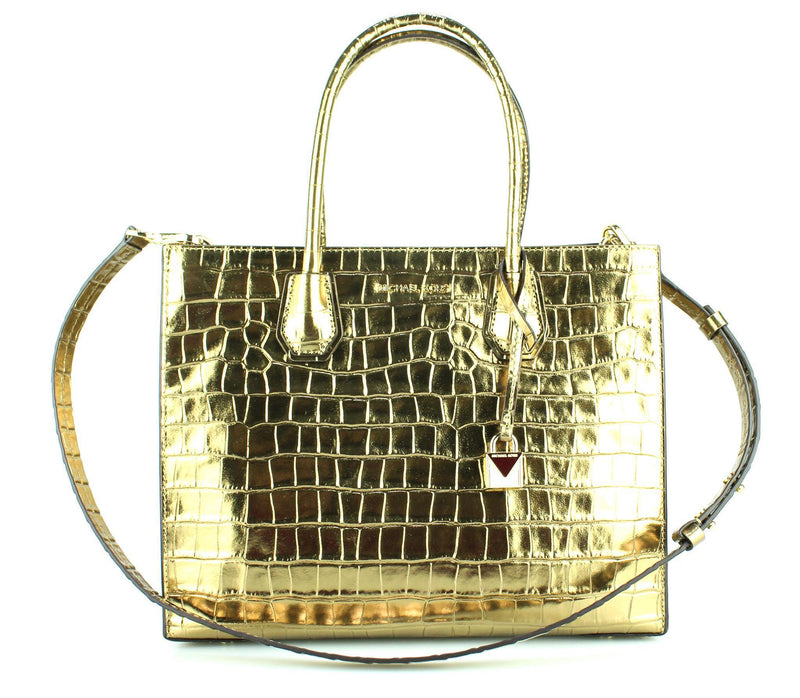 Michael Kors Mercer Gold Croc Embossed Tote