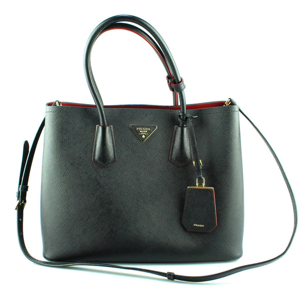 Prada Large Saffiano Double Tote Black