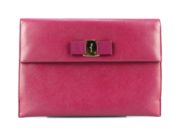 Salavatore Ferragamo Crossgrain Leather Burgundy Clutch