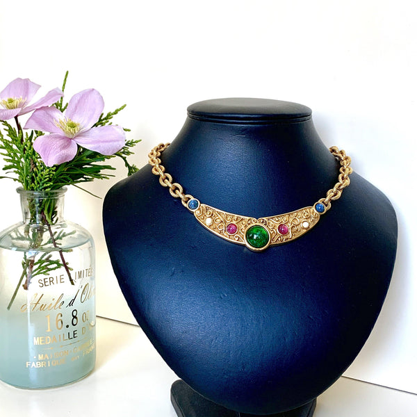 Dior Vintage Statement Neckpiece With Multicolour Stones