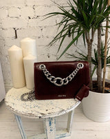 Miu Miu Amaranto Shiny Calfskin Chunky Chain Shoulder Bag SH