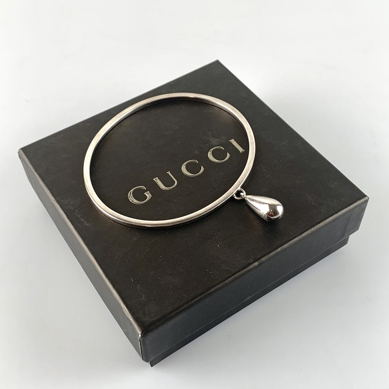 Gucci Sterling Silver Oversize Bangle Teardrop Pendant Large
