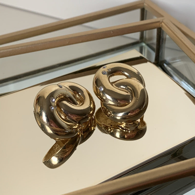 Dior Vintage Gold Plated Costume Stone Twist Clip Earrings