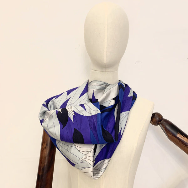 Emilio Pucci 90cm Silk Scarf Blues And Navy's